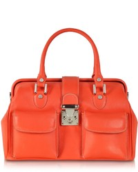 Orange Satchel-Tasche aus Leder von L.a.p.a.