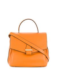 orange Satchel-Tasche aus Leder von Visone