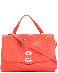 orange Satchel-Tasche aus Leder von Zanellato