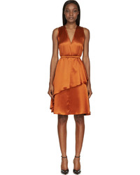 orange Seide Etuikleid von Givenchy