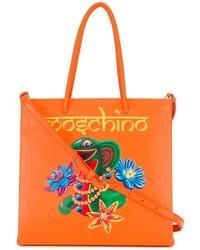 orange Shopper Tasche aus Leder von Moschino