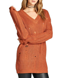 orange Strick Oversize Pullover