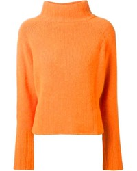 orange Strick Rollkragenpullover