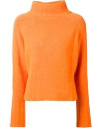 orange Strick Rollkragenpullover