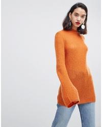 orange Strick Rollkragenpullover von Vero Moda