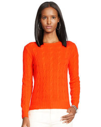 orange Strick Strickpullover