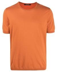 orange Strick T-Shirt mit einem Rundhalsausschnitt von Tagliatore