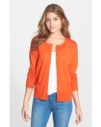 orange Strickjacke