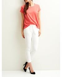 orange T-Shirt mit einem Rundhalsausschnitt von Vila