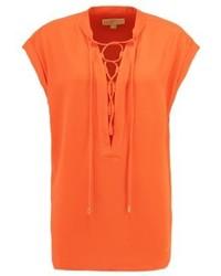 orange T-Shirt mit einem V-Ausschnitt von Michael Kors