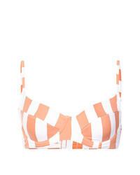 orange vertikal gestreiftes Bikinioberteil
