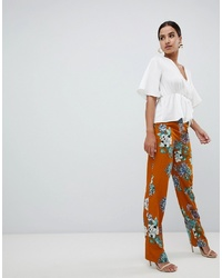 orange weite Hose mit Blumenmuster von Missguided