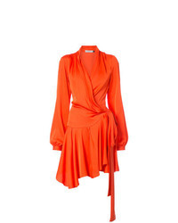 orange Wickelkleid