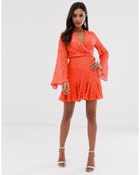 orange Wickelkleid von ASOS DESIGN