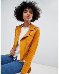 orange Wildleder Bikerjacke