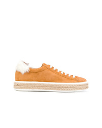 orange Wildleder niedrige Sneakers von Mr & Mrs Italy