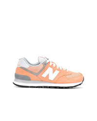 orange Wildleder niedrige Sneakers von New Balance
