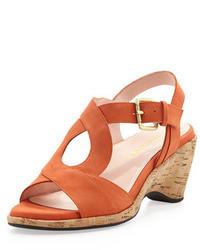 orange Wildleder Sandaletten