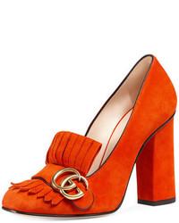 orange Wildleder Slipper