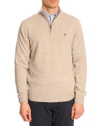 Pullover mit reißverschluss am kragen