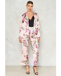 rosa Anzughose aus Satin mit Blumenmuster