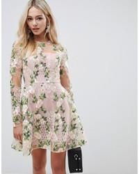 rosa ausgestelltes Kleid aus Spitze von ASOS DESIGN