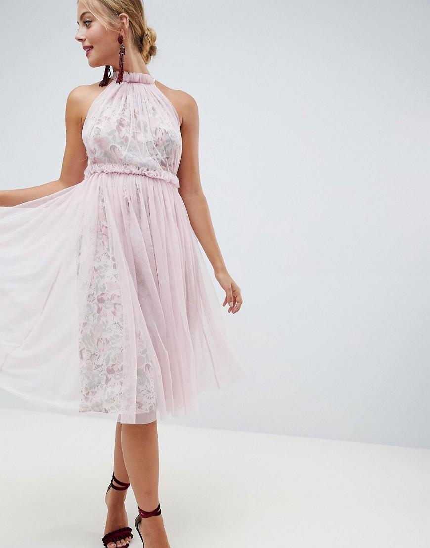rosa ausgestelltes Kleid aus Tüll von ASOS DESIGN
