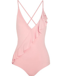 rosa Badeanzug mit Rüschen von Marysia Swim