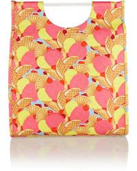 rosa bedruckte Shopper Tasche aus Segeltuch