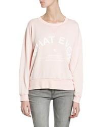 rosa bedruckter Pullover mit einem Rundhalsausschnitt
