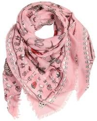 rosa bedruckter Seideschal