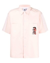 rosa bedrucktes Kurzarmhemd von adidas