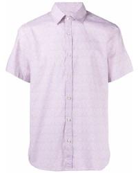 rosa bedrucktes Kurzarmhemd von Canali