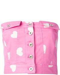 rosa bedrucktes kurzes Oberteil von Moschino