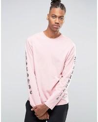 rosa bedrucktes Langarmshirt