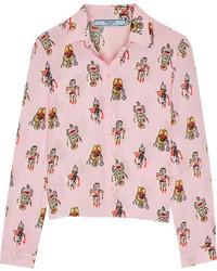 rosa bedrucktes Seidehemd von Prada