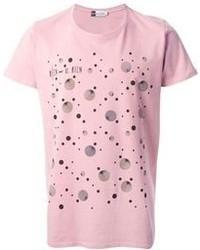 rosa bedrucktes T-Shirt mit einem Rundhalsausschnitt