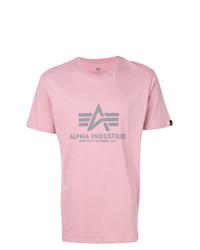 rosa bedrucktes T-Shirt mit einem Rundhalsausschnitt von Alpha Industries
