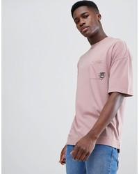 rosa bedrucktes T-Shirt mit einem Rundhalsausschnitt von Tom Tailor