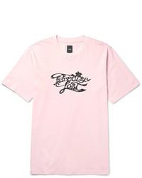 Rosa bedrucktes T-Shirt mit Rundhalsausschnitt von Oamc