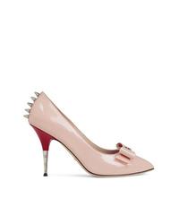 rosa beschlagene Leder Pumps von Gucci