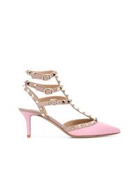 rosa beschlagene Leder Pumps von Valentino