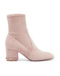 rosa beschlagene Wildleder Stiefeletten von Valentino
