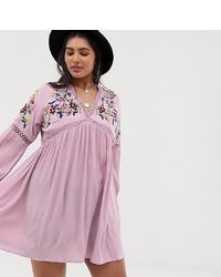 rosa besticktes schwingendes Kleid von En Crème Plus