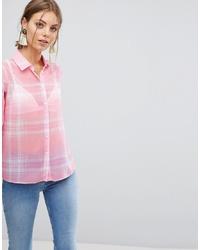 rosa Businesshemd mit Schottenmuster von ASOS DESIGN