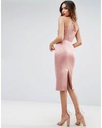 rosa Camisole-Kleid aus Satin von Asos