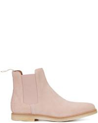 rosa Chelsea-Stiefel aus Wildleder