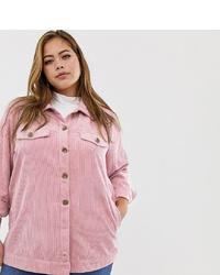 rosa Cordshirtjacke von Zizzi