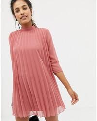 rosa Falten schwingendes Kleid von ASOS DESIGN