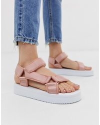 rosa flache Sandalen aus Leder von ASOS DESIGN